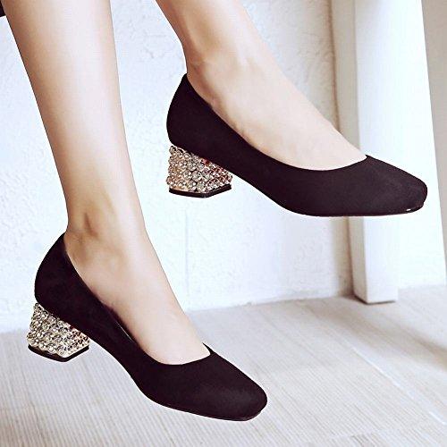 Mee Shoes Damen mit Strass Nubukleder vierkant chunky heels Pumps Schwarz