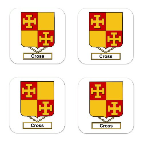 Cross Family Crest Square Coasters Coat of Arms Coasters - Set of 4 ()