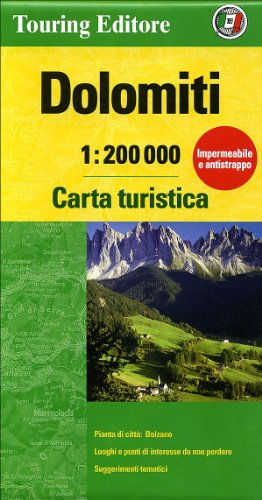 Dolomites, Tourist Map & Guide (English and Italian Edition)