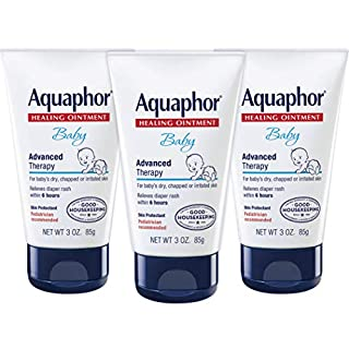 Aquaphor Baby Healing Ointment - Advanced Therapy for Chapped Cheeks and Diaper Rash - 3 oz. Tube (Pack of 3)