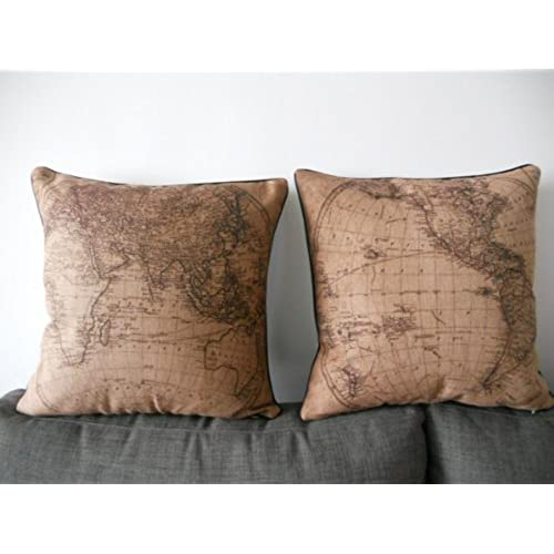 decorbox 2 pieces decorative cotton linen square throw pillow case cushion cover throw pillow shell pillowcase with black border map 18 x18
