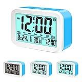 Coresto Large LCD Screen Digital Alarm Clock Time/Calendar/Temperature Display with 3 Alarms, Optional Weekday Alarm Snooze Function Smart Sensor Backlight Home Alarm Clocks for Bedrooms (Blue)