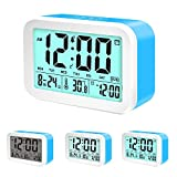 Coresto Large LCD Screen Digital Alarm Clock Time/Calendar/Temperature Display with 3 Alarms, Optional Weekday Alarm Snooze Function Smart Sensor Backlight Home Alarm Clocks for Bedrooms (Blue)