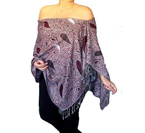 2b202fdc4c5 Amazon.com  Plus Size Dark Red Pashmina Shawl Top Black And Grey Poncho By  ZiiCi  Handmade