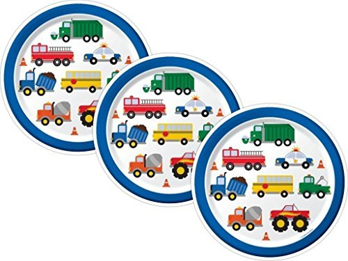 Traffic Jam Trucks Birthday Party Paper Dinner Plates, 24 Count