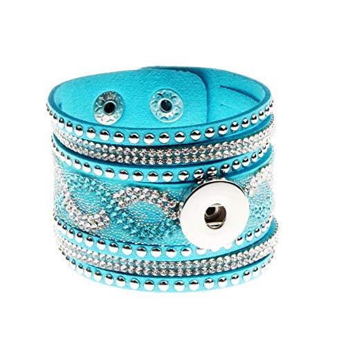 2018NEW Fashion 1pcs Charm Bracelet for Noosa Snaps Chunk Button NS02 ()