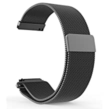 BlueBeach® 22mm Milanese Mesh Stainless Steel Watch Strap Bracelet Replacement with Magnetic Lock for Pebble Time / Motorola 360 2nd Gen / Samsung Gear 2 R380 R381 R382 / LG G Watch W100 / LG G Watch R W110 / LG Watch Urbane W150 / Asus ZenWatch / Asus Vivowatch (Black)