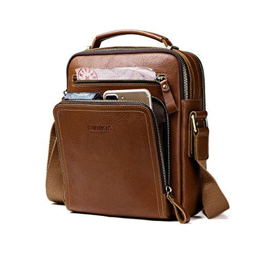 Leather Mini Messenger Bag - Contacts Real Leather Mens iPad Mini Tab Messenger CrossBody Tote Bag Handbag Brown