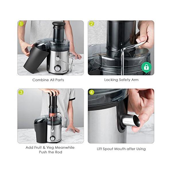Centrifuga Frutta e Verdura, Aicok 800W Estrattore di Succo a Freddo con 75MM Bocca Larga, Centrifuga in Acciaio Inox a Doppia Velocità con Funzione Antigoccia, Facile Pulizia, Senza BPA - 2020 -