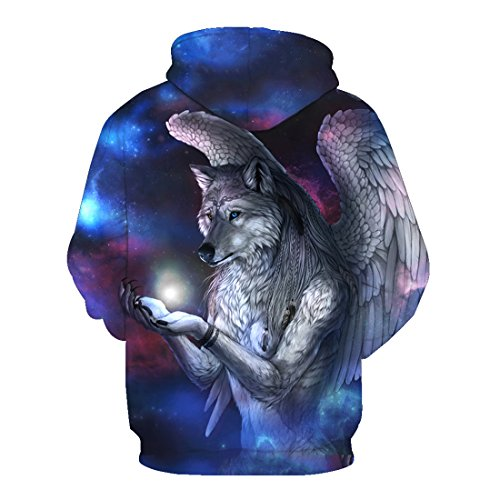 con lobo hombre con de Mujer Blusa capucha estampado Sudadera 11 para con Acvip capucha Sudadera de xX1CPwOq