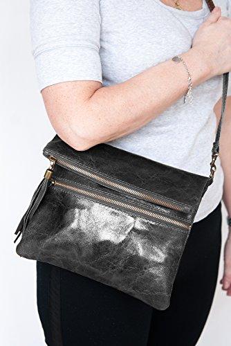 Bolsos estilo cartera ,Clutch , Bolso al hombro, (24,5 / 21 (28) / 2) Cuero & Cocodrilo, Mod. 2080 by fashion-formel Gris