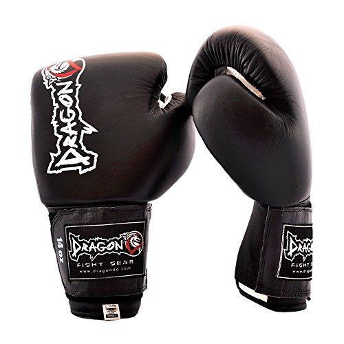 ドラゴンDo King II Cow Hideレザーボクシンググローブ、トレーニングSparringバッグ手袋、Punchingキックボクシングムエタイ総合格闘技12 14 16 Oz異なる色。。。 ブラック 16 oz