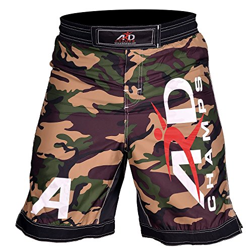 ARD Camo Pro MMA Fight Shorts Camouflage UFC Cage Fight Grappling Kickboxing Yellow (Split Seam Fight Shorts)