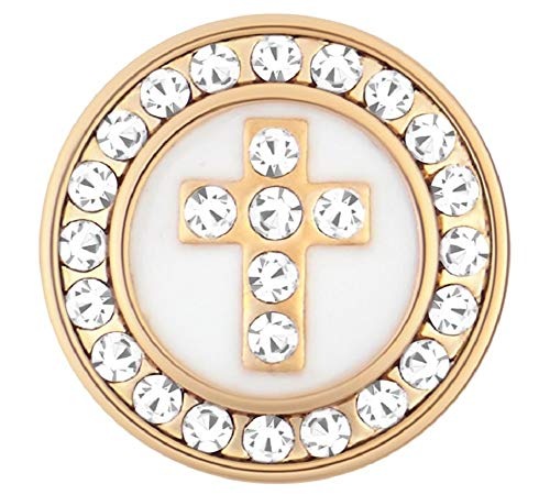 Ginger Snaps Petite Gold - White Hematite Cross GP03-20 Interchangeable Jewelry ()