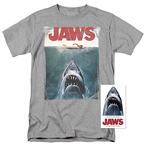 Jaws Shark Original Movie Poster Athletic Heather T Shirt (XXXXX-Large)