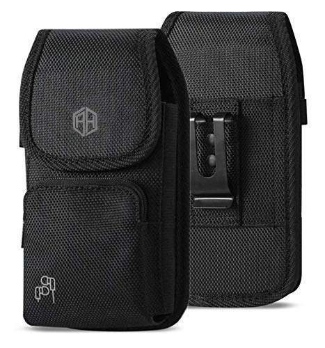 Military Grade Cell Phone Case, Rugged Outdoor Carry Pouch Belt Clip Compatible w/ [iPhone 6 6S 7 8 X XR XS (4.7'') 11 Pro] Kyocera DuraForce rugged Canvas Holster Fits Phone with Battery Case