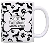 Dog Owner Gifts Best Dachshund Doxen Mom Ever Paw Pattern Gift Coffee Mug