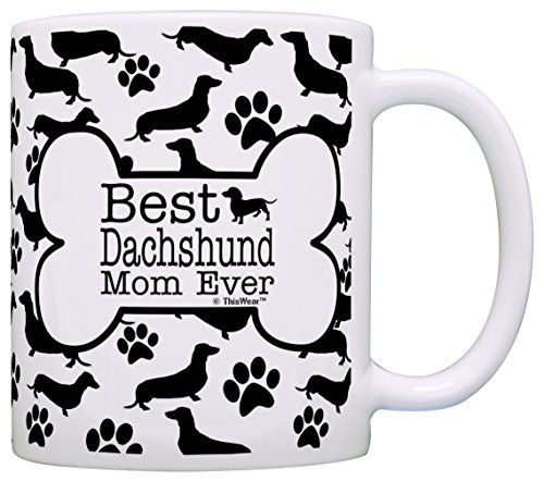 (Dog Owner Gifts Best Dachshund Doxen Mom Ever Paw Pattern Gift Coffee Mug Tea Cup Bone Pattern)