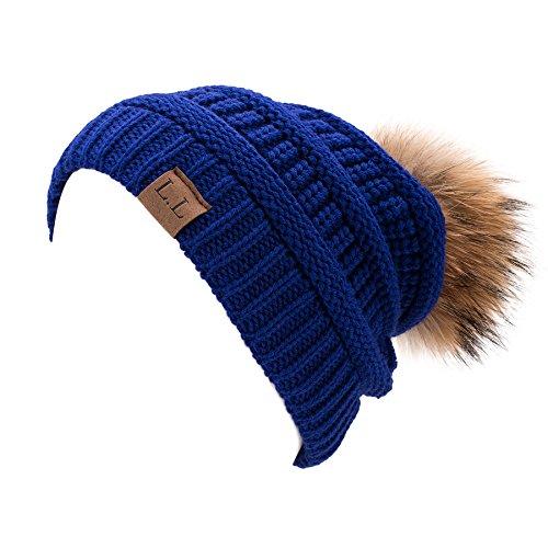 11 Womens Pom Pom - Lawliet Womens Unisex Winter Hat Pom Pom Slouchy Knit Beanie Ski Cap A404 (#11 Royal Blue)