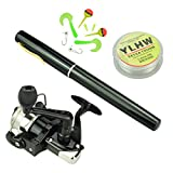 Multi Outools 38 Inches Pocket Pen Rod Set,Mini Fishing Rod and Reel Combos,Portable Travel Fishing Gear in A Box,Good Gift for Birthday,Festival,Christmas (Black)
