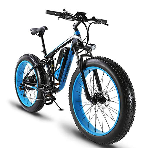 Cyrusher XF800 Fat Tire Electric Bike 1000W 48V Mens Mountain Bike Snow Ebike 26inch Bicycle Full Suspension Fork Hydraulic Brakes ()