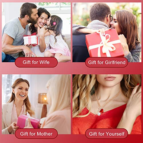 ZRU Heart Necklace Red Crystal Women Necklaces Pearl Pendant Rose Gold Plated Butterfly Jewelry Gifts for Christmas