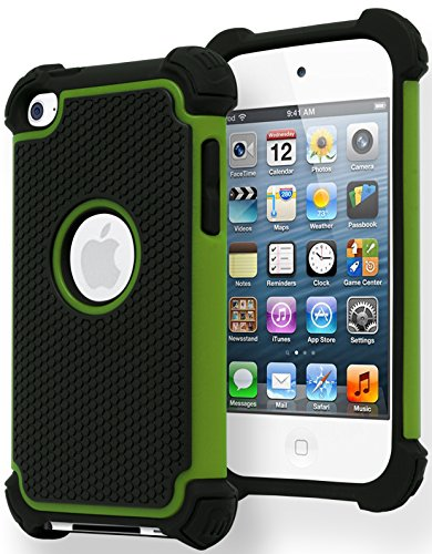 iPod Touch 4 Case, Bastex Hybrid Slim Fit Black Rubber Silicone Cover Hard Plastic Neon Green & Black Shock Case for Apple iPod Touch 4, 4th Generation - 4 Generation Cases