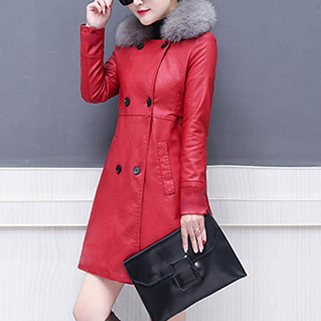 Eoeth Womens Plush Thicken Leather Jacket Oversize Lapel Cashmere Wool Blend Belt Trench Furry Collar Coat Outwear Tunic