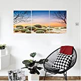 Liguo88 Custom canvas Cactus Decor Cactus Balls with Spikes on a Montain Desert Sand Mexican Landscape Photo Wall Hanging for Bedroom Living Room Multicolor