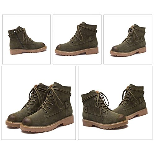 Autumn And Winter The New Velvet Leather Martin Boots Women Fashion Lace Low With Wild Retro British Boots Green 3twYO3F