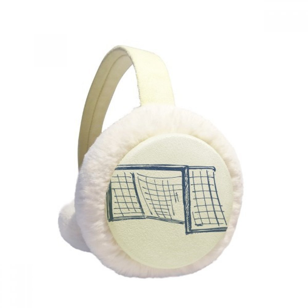 Blue Football Door Net Pattern Winter Earmuffs Ear Warmers Faux Fur Foldable Plush Outdoor Gift