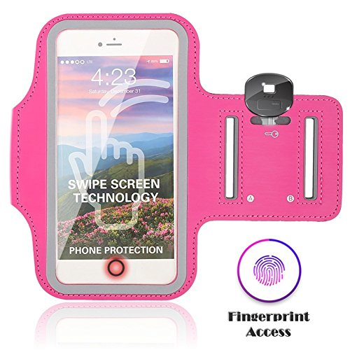 Sports Running Armband Case for iPhone 8 Plus/ 7 Plus/ 6S Plus/ 6 Plus/X 8 7 6S 6, Eaxxfly Touch Supported Cell Phone Armband Waterproof Adjustable Reflective Velcro Card Key Holder 5.5 (Pink)