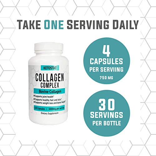 Collagen Pills 120ct 3,000mg Collagen Peptide Capsules | Type I and III Hydrolyzed Collagen Capsules Of High Quality Collagen For Joint And Bone Health, Healthier Hair & Skin, And Weight Loss Support.