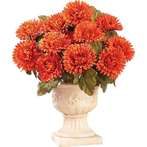 Floral Mum Bushes - Set Of 3 Orange