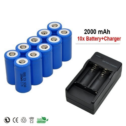 Yueling@ 10x 2000mah 3.7v Cr123a 16340 Li-ion Rechargeable Battery +Charger for