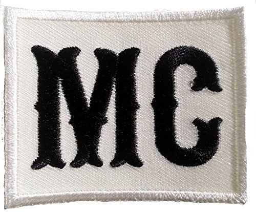 (MC Motorcycle Club Logo Outlaw Anarchy Biker Patch Off White/Black )
