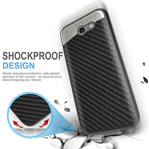 70%OFF TJS Samsung Galaxy J3 Emerge/J3 Prime/Amp Prime 2/Express Prime 2/Sol 2/J3 Mission/J3 Luna Pro/J3 Eclipse Case, With [Tempered Glass Screen Protector] Carbon Fiber Built-in Metal Plate Back Case