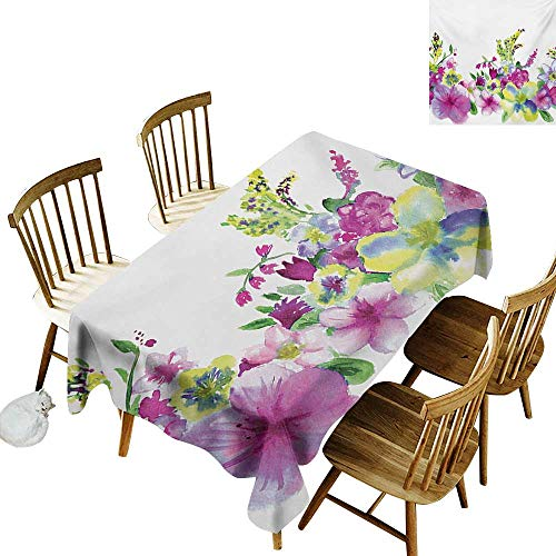 Indoor Tablecloth W54 x L90 Watercolor Flower Hybrid Garden Floret Composition with Heathers and Stocks Abstract Art Pink Green Suitable for Home Coffee Bar Party Wedding & More ()