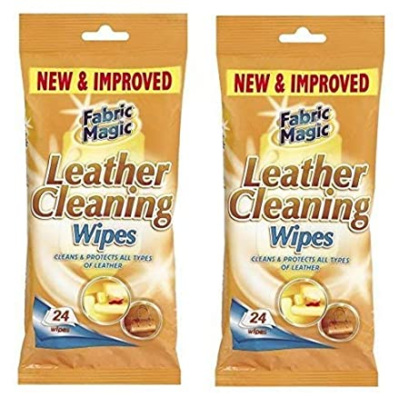 2 x Packs Of Fabric Magic Leather Cleaning Wipes 24 Wipes Cleans /& Protects