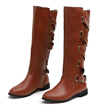1aef1220ad9 💕 Ourhomer 💕 Clearance Sale! Womens Ladies Shoes Buckle Roman Riding Knee  High Cowboy Boots Martin Long Boots