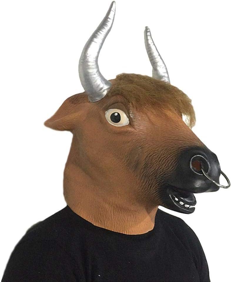 Maschera di Carnevale in Lattice Maschera a Pieno facciale Puntelli di Costume Cosplay di Halloween-Bestiame Maschera Animale KHSKX Maschera di Halloween