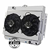 "Primecooling 62MM 4 Row Core Aluminum Radiator +2X12"" Fan w/Shroud for Bel-Air, Impala,Caprice, More Chevy Models 1963-68"