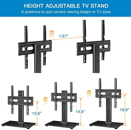 PERLESMITH Universal 32-55 TV Stand – Table Top TV Stand for LCD LED 4K TVs – Height Adjustable TV Base Stand with Tempered Glass Base Wire Management, VESA 400x400mm, Holds up to 88lbs