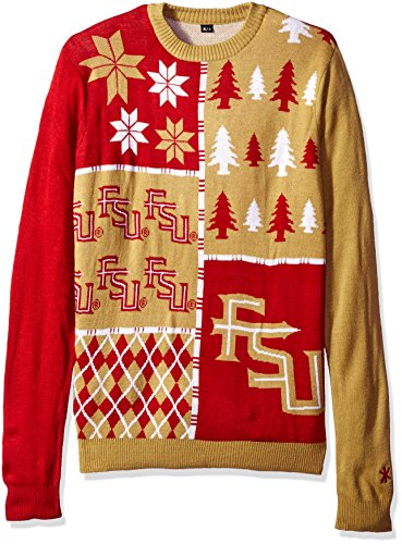 Klew NCAA Busy Block Sweater, Large, Florida State Seminoles