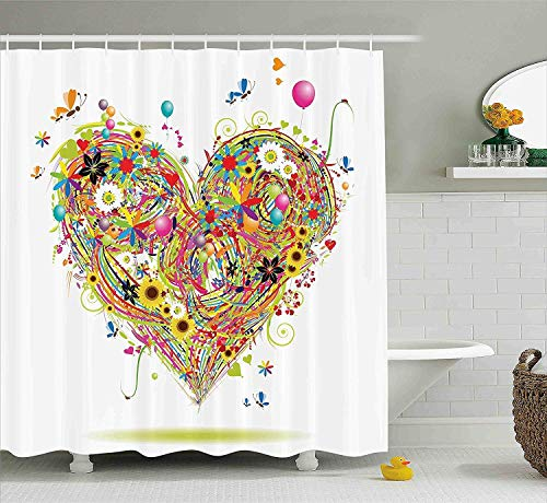 (Afagahahs Decorations Hearts Flower & Balloon Heart Daisies Butterflies Sunflowers Ladybugs Colorful Grass Floral Bathroom Print Polyester Fabric Shower Curtain Green Pink Purple Blue White)
