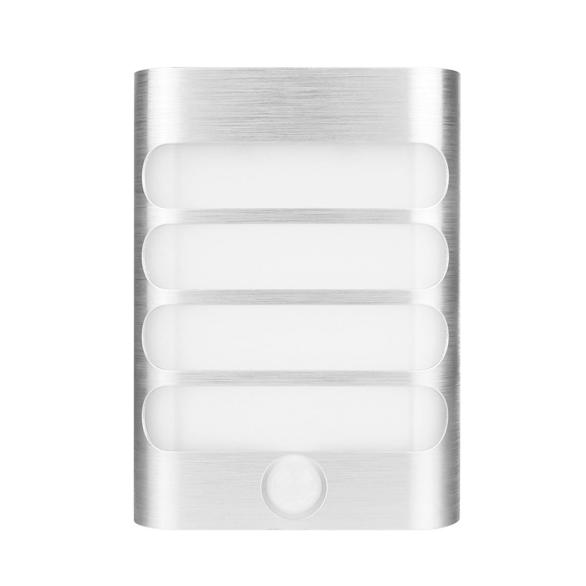 Powstro Morden LED Wall Light Stainless Steel Indoor Rechargeable Wireless Wall Sconce Lantern Sensor Night Light for Home,Bedroom,Garden(Warm white)