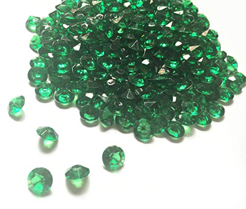 Briliant Shop 10mm Acrylic Color Faux Round Diamond Crystals Treasure Gems for Table Scatters, Vase Fillers, Event, Wedding, Arts & Crafts (1000 pcs) (Emerald Green) ()