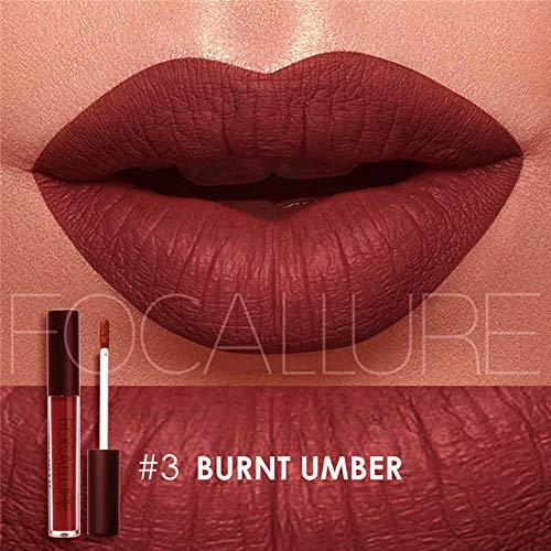 Matte Lipstick Focallure Dark Purple Stay On Plum Lip Gloss Long Lasting Liquid Waterproof Makeup Lipgloss Burnt Umber