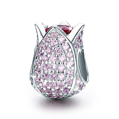 BAMOER Sterling Silver Tulip CZ Charms Bead for European Bracelets Gifts