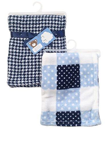 2-Pack Of Super Soft Plush Lightweight Furry Fleece Sherpa Checker Dots Houndstooth Blue Boy Baby Blanket Gift (Sherpa Dot Blanket)